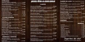 Carta Restaurante Café La Platanera